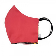 100 % COTTON FACE MASK - 3- LAYERS - RED YELLOW PATTERN -LARGE