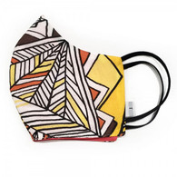 100 % COTTON FACE MASK - 3- LAYERS - YELLOW RED ABSTRACT -LARGE