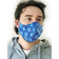ADULT COTTON FACE MASK - 3 LAYERS (NON-MEDICAL) - BLUE CHECK - LARGE