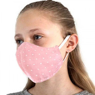 KIDS COTTON FACE PROTECTION MASK - PINK/SPOTS FLORAL - SMALL