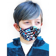 KIDS COTTON FACE PROTECTION MASK - BLUE/BLACK SPOTS- SMALL