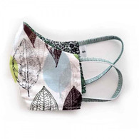 KIDS COTTON FACE PROTECTION MASK - SIVER LEAVES- SMALL