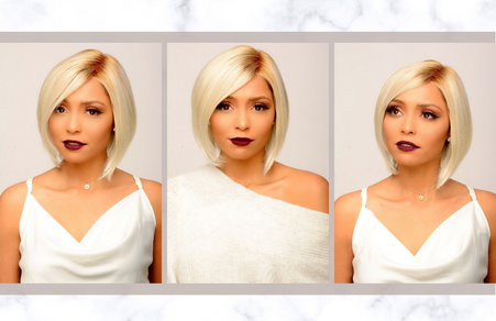 This slight angled  bob is pictured in a lace front mono part with synthetic hair.  Contact your specialist to create your Just Be  wig.