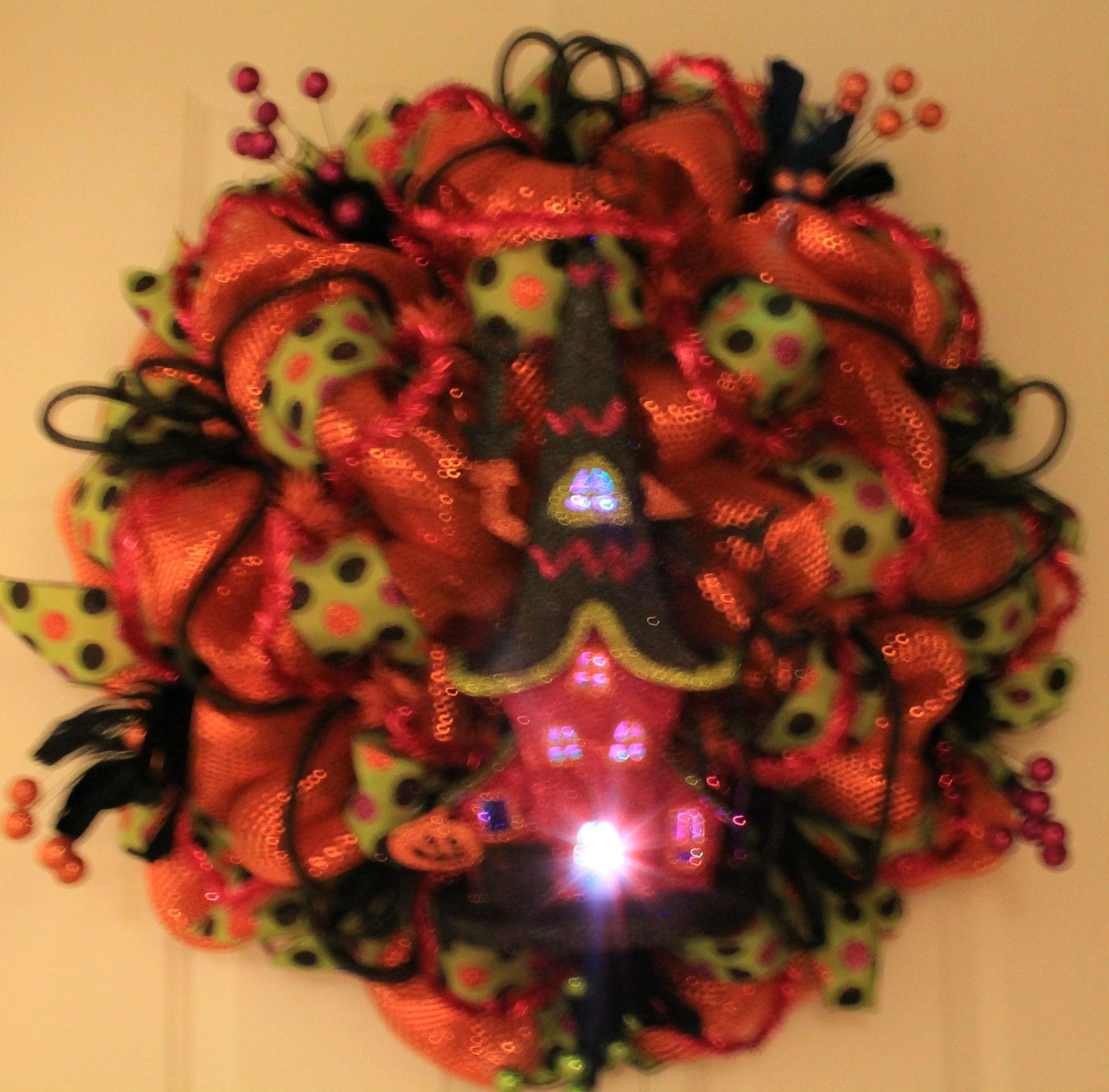 Diy Haunted House Halloween Mesh Wreath The Wreath Depot