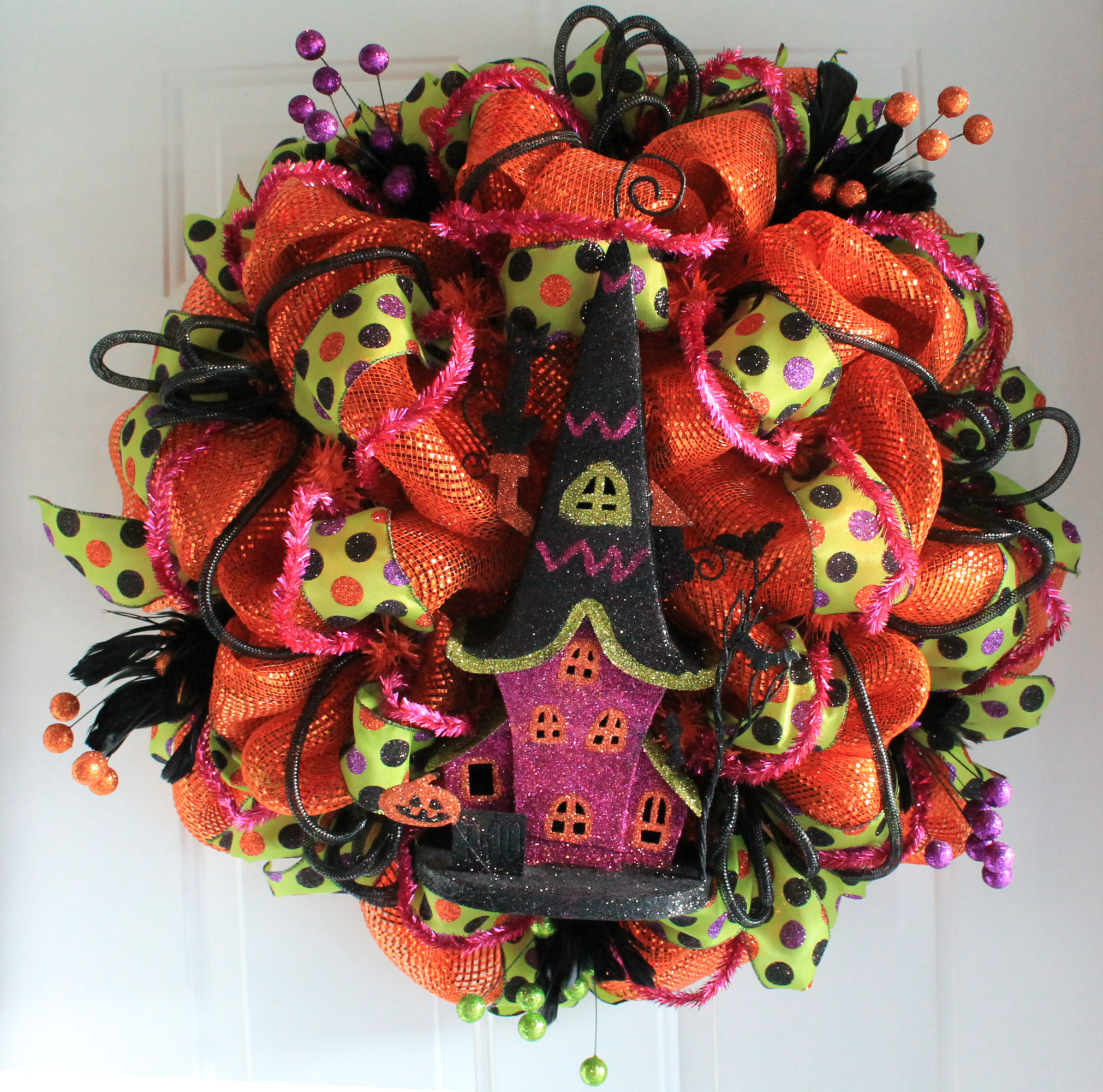 Diy Haunted House Halloween Mesh Wreath The Wreath Depot