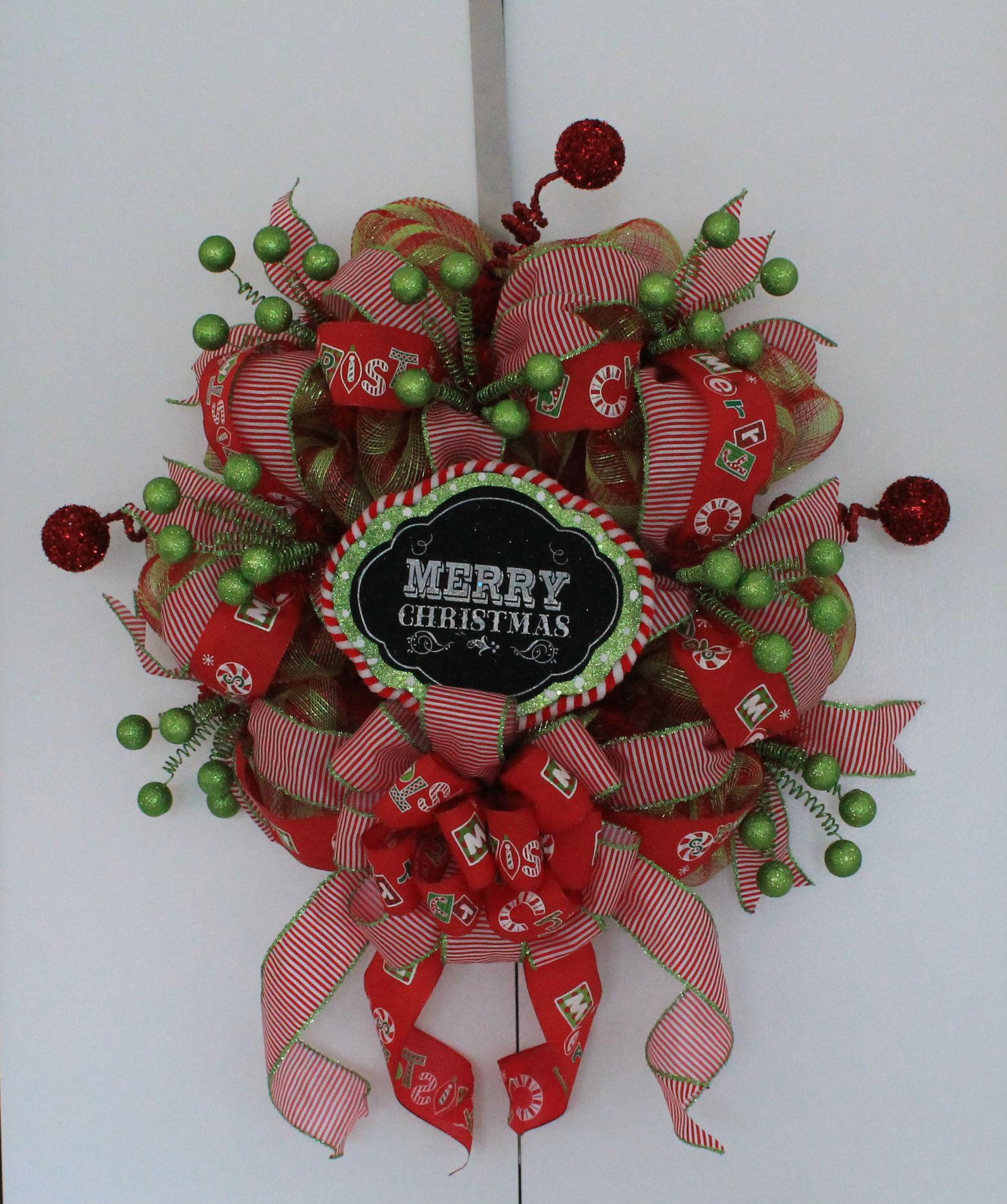 "DIY ""Merry Christmas"" Mesh Wreath The Wreath Depot"