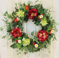 Decorative Burgundy Silk Seasonal Front Door Wreath - 22 inch
