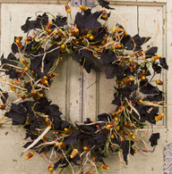 Candy Corn Halloween Silk Door Wreath - 18 inch