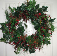 Cranberry Silk Christmas Door Wreath - 22 inch