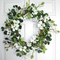 Dogwood Silk Wreath - 24 in