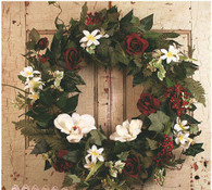 Rose Blossom Seasonal Door Wreath - 22 in