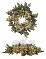 Goldfinger Poinsettia Wreath Set