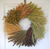 Harvest Bounty Grain Wheel Wreath 19 in