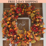 Highland Fall Silk Door Wreath 22 inch