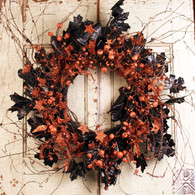 Lillians Halloween Silk Door Wreath 22 inch