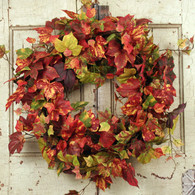 Harvest Fall Silk Door Wreath -18 in