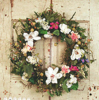Magnolia Floral Medley Silk Door Wreath - 22 in