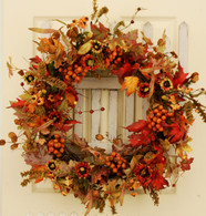 Valencia Red Berry Silk Door Wreath - 22 inch