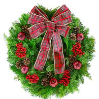 Tartan Holiday Fresh Christmas Wreath - 22 in