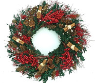 Elegant Cinnamon Boxwood Holiday Wreath 22 in