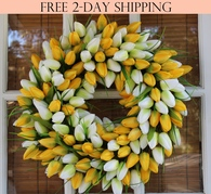 Yellow Silk Tulip Door Wreath 19 in