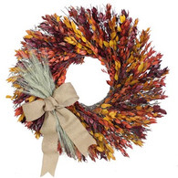 Autumn Myrtle Wreath With Burlap Bow