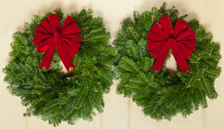 Fresh Christmas Wreaths.Down East Double Door Fresh Christmas Wreaths 15 In