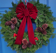 Ashton Decorative Fresh Christmas Wreath With Bow 24 in