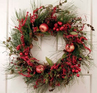 Springfield Silk Artificial Holiday Door Wreath 22 in