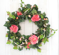 Eden Rose Silk Spring Door Wreath 22 in