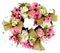 Balmoral Rose And Hydrangea Silk Spring Door Wreath