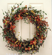 Carmel Silk Berry Autumn Door Wreath 22 in