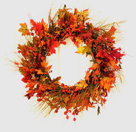 Woodlawn Silk Front Door Fall Wreath 22 in