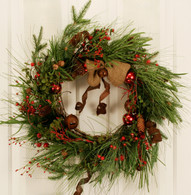 Greenwood Jingle Bell Artificial Christmas Wreath 22 in