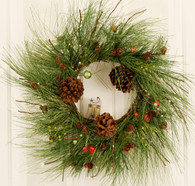 Pine Cone Lighted LED Artificial Christmas Door Wreath 22 in