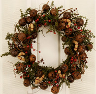 Vintage Jingle Bell Artificial Christmas Front Door Wreath 20 in