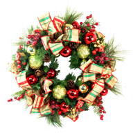 Manchester Decorated Silk Christmas Door Wreath With Bow