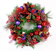 Dorset Pine Cone And Ornament Decorated Silk Christmas Wreath