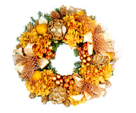 Laurier Gilded Decorated Silk Artificial Christmas Door Wreath