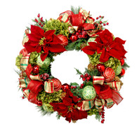 Joliette Holiday Decorated Elegant Silk Christmas Door Wreath