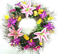 Juliette Twig Silk Spring Door Wreath 22 in