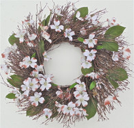 Rustic Dogwood Twig Silk Spring Wreath 22 in
