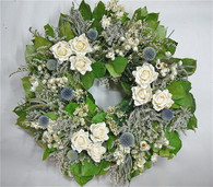 Vintage White Rose Natural Spring Wreath 22 in