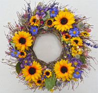 Ossabaw Silk Sunflower Floral Spring Wreath 20 in