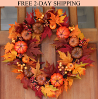 Woodbury Pumpkin Harvest Silk Fall Front Door Wreath 22 Inches