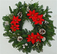 Oregonia Poinsettia Fresh Christmas Wreath 22 inch