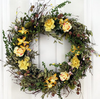 Wrens Song Silk Spring Front Door Wreath 22 in