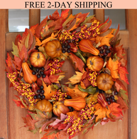 Montgomery Hollow Silk Fall Door Wreath 26 inch