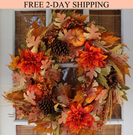 Oakwood Silk Fall Door Wreath 22 Inches