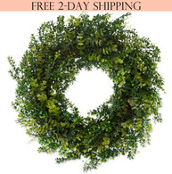 Arbor Artificial Boxwood Door Wreath 22 In